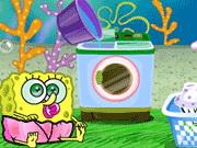 Online game Baby SpongeBob Washing Clothes