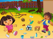 Dora And Diego Playing Football