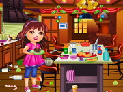 Online game Dora Christmas Kitchen Cleaning