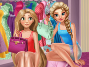 Play Elsa And Rapunzel Dressing Room Game