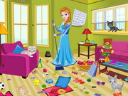 Online game Princess Elsa Kitty Room Cleaning